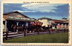 1950 Las Vegas, NV Postcard HOTEL LAST FRONTIER Stage Coach Scene Deckled Linen