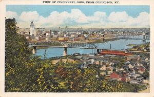Covington Kentucky~Birdseye of Both~Cincinnati Across River~1934 Kraemer Art PC