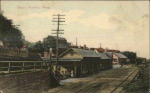 Franklin MA RR Train Depot Station c1910 Used Postcard
