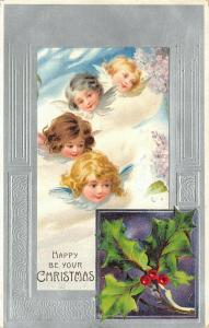 Christmas~Fantasy Flying Winged Angel Faces in Clouds~Purple & Silver Emboss~'08
