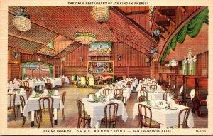 California San Francisco John's Rendezvous Restaurant Dining Room 1938 C...