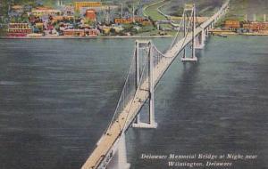 Delaware Memorial Bridge at Night near Wilmington, Delaware,30-40s