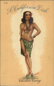 Sexy Topless Pin-Up California Dish Series C-16 Chicken Curry Linen Postcard