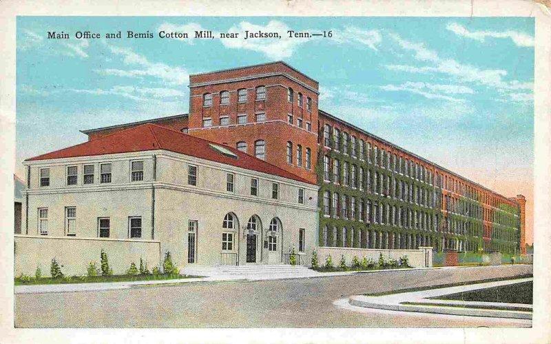 Main Office Bemis Cotton Mill Jackson Tennessee 1933 postcard
