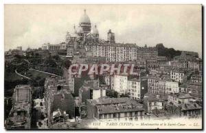 Old Postcard Paris Montmartre and Sacre Coeur