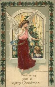 Christmas - Children at Tree - Angel Outside Window c1910 Postcard