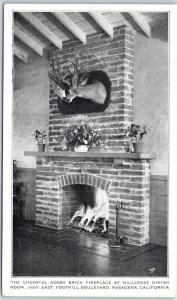 Pasadena, California Postcard HILLCREST DINING ROOM Fireplace View c1940s Unused