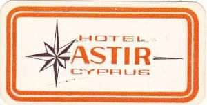 CYPRUS HOTEL ASTIR VINTAGE LUGGAGE LABEL