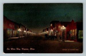 Virginia MN-Minnesota, The White Way At Night, Vintage Postcard