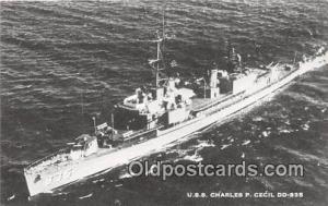 Postcard Post Card USS Charles P Cecil DD835