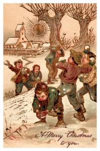 Christmas  , Children having Snowball Fight