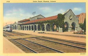 Union Depot Phoenix Arizona Linen Postcard