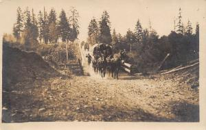 Columbia Beach Oregon~Company B~US Army Moving Wagons~1911 Real Photo Postcard