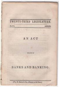 1843 Booklet Titled An Act Relating To Banks and Banking,...