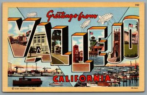 Postcard Vallejo CA c1943 Greetings From Vallejo California Large Letter Views