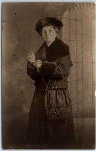 1910s RPPC Real Photo Postcard Older Woman in Overcoat & Fur Hat Studio Portrait