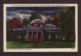 Virginia Post card  Monticello night Jefferson