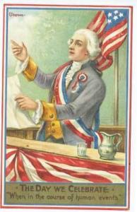 4th Fourth of July Patriotic US Flag Orator Signed Chapman Postcard