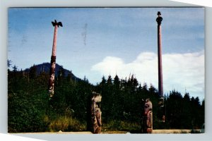 Juneau AK-Alaska, Abraham Lincoln Totem Pole, Tlingit Indians Chrome Postcard