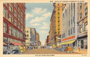Minneapolis Minnesota~Nicollet Avenue City Of Lakes And Parks~1941 Postcard