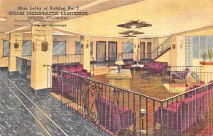 1954 Denver CO Spears Chiropractic Sanitarium Linen Postcard