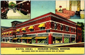 Excelsior Springs, Missouri Postcard HOTEL IDEAL Lobby & Room Views Linen c1940s