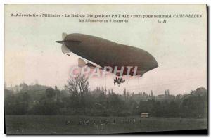 Postcard Old Jet Aviation Zeppelin Airship share Patrie for his raid Paris Ve...