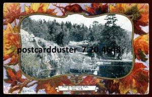 4648 - ST. JOHN NB Postcard 1912 Rockwood Park Pool. Patriotic Beaver Maple Leaf