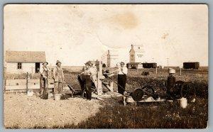 RPPC 1910s Western Canada Ogilvie's Grain Elevator Gas Engine Box Railcars
