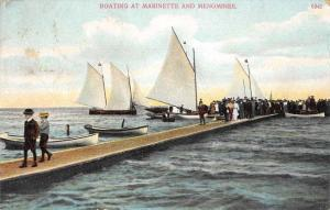 Marinette Wisconsin Menominee Ships Boating Pier Antique Postcard J76245