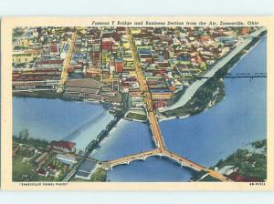 Linen AERIAL VIEW OF TOWN Zanesville Ohio OH H8684