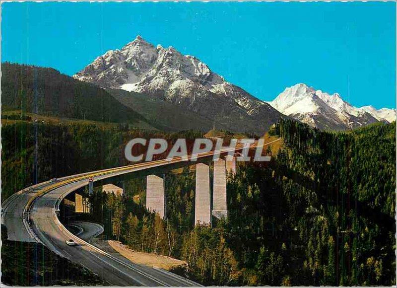 Modern Postcard Autobahn Brenner Europabrücke Serles und gegen Habicht Tirol