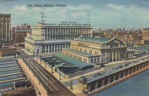 CHICAGO, Illinois, 1930-40s ; Union Station, PA & Milwaukee Railroads
