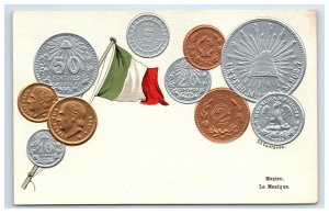 Mexico Embossed Coin Postcard Mexican Flag Centavos