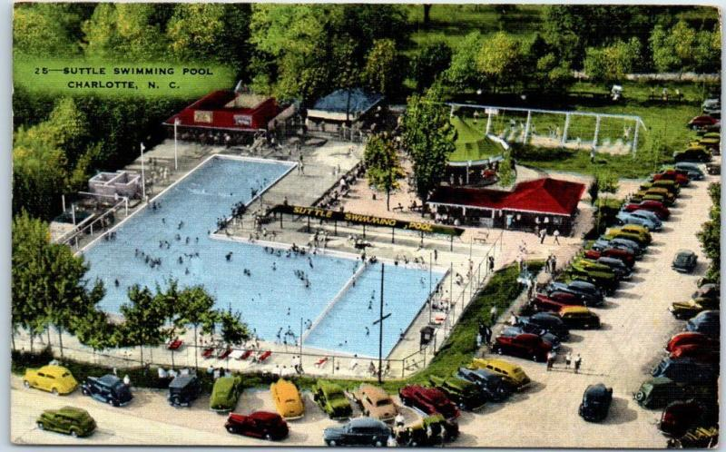 Charlotte, North Carolina Postcard SUTTLE SWIMMING POOL Aerial View Kropp Linen