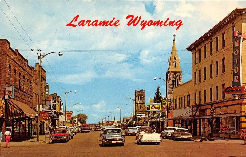 Laramie Wyoming~Third Street North~Mobil Station~IOOF~Church~50s Convertible Car