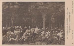A Stag Hunt In A Forest By Night Florentine Hunting Italian Painting Postcard