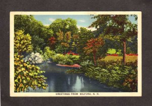 NH Greetings From Milford New Hampshire Linen Postcard