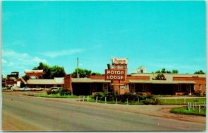Minden, Nebraska Postcard PIONEER MOTOR LODGE Pioneer Village Roadside c1960s