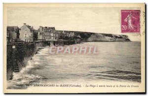 Old Postcard Arromanches les Bains Plage Maree Haute and Grouin