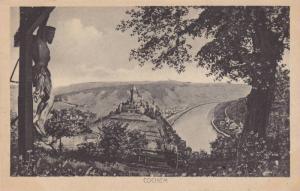 Statue of Jesus on the Cross, Birds Eye View of Castle, Cochem, Rhineland-Pal...