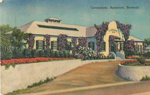 Government Aquarium in Bermuda Linen Postcard