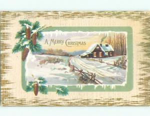 Pre-Linen christmas PINECONES AND NEEDLES - SNOWY ROAD BY THE HOUSE k1510