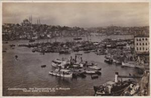 Turkey Constantinople Panoramic View Of Harbor and Mosque Real Photo