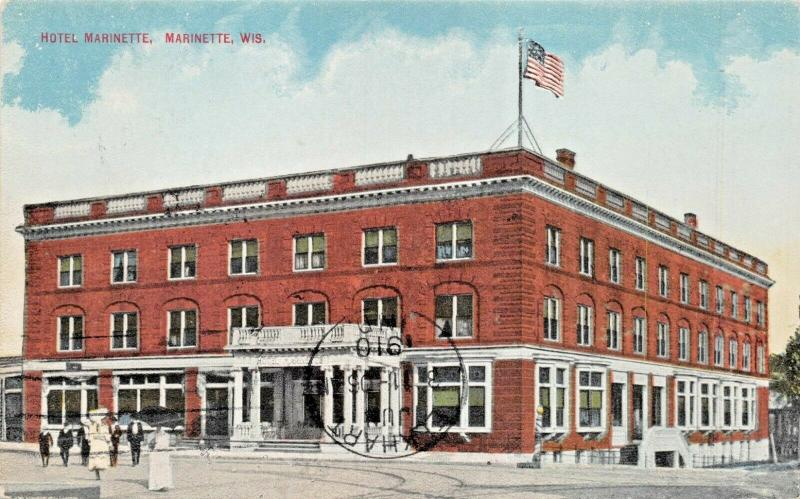 MARINETTE WISCONSIN~HOTEL MARINETTE-POSTCARD 1910-GREAT TRAVELING SALESMAN MSG?