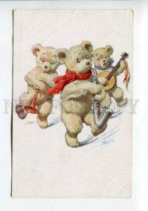 423058 SAXOPHONE Musical TEDDY BEAR by CHARLIN vintage PC