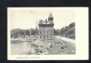 WARREN OHIO CITY HALL AND PARK VINTAGE POSTCARD