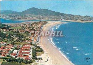 Modern Postcard Hendaye (Pyrenees Atlantiques) The Beach Au Fond Bidassoa and...