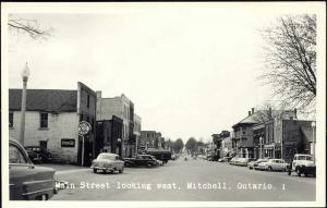 canada, MITCHELL, Ontario, Main Street, White Rose, Car (1960s) RPPC