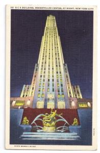 RCA Building Rockefeller Center Night New York City NY Linen